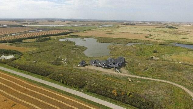 Vue aérienne de la maison avec des champs verts et un étang près de la maison.