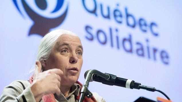 La co-porte-parole de Québec solidaire Manon Massé lors de la réunion du Conseil national du parti à Montréal, le dimanche 9 décembre 2018.