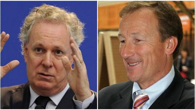L'ex-premier ministre du Québec Jean Charest et l'ex-grand argentier libéral Marc Bibeau