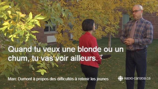 Photo de Marc Dumont, le DG du conseil scolaire Centre-Est avec la citation suivante: 'si tu veux une blonde ou un chum, tu vas voir ailleurs.'
