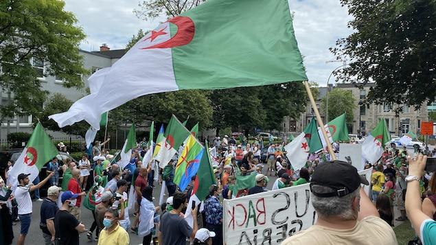 Des manifestant portant  le drapeau algérien.