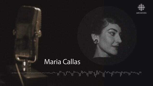 Photo de Maria Callas, microphone à l'avant-plan et infographies.
