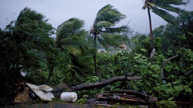 La ville de Petit-Bourg en Guadeloupe est fouettée par les vents de Maria qui dépassent les 250 km/h.