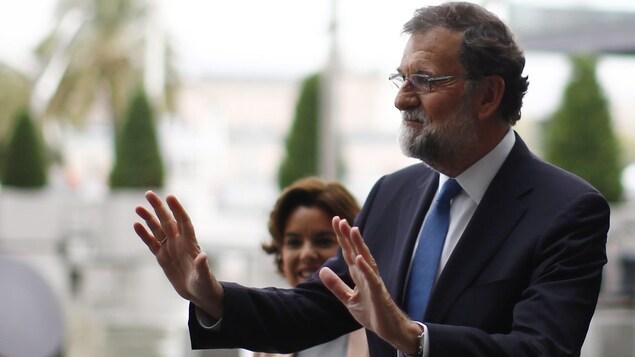 Le premier ministre de l'Espagne, Mariano Rajoy, avant une rencontre à Barcelone, vendredi le 15 septembre 2017
