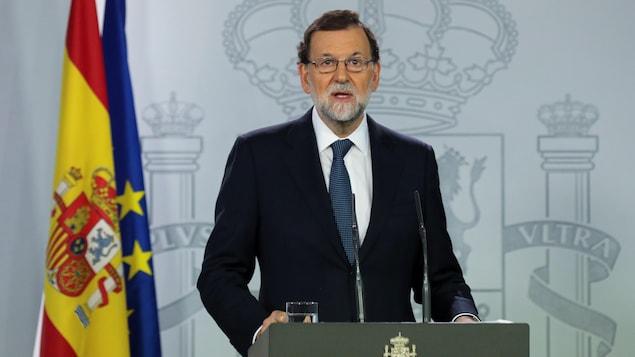 Le président espagnol Mariano Rajoy lors d'un discours à Madrid, le 11 octobre 2017.