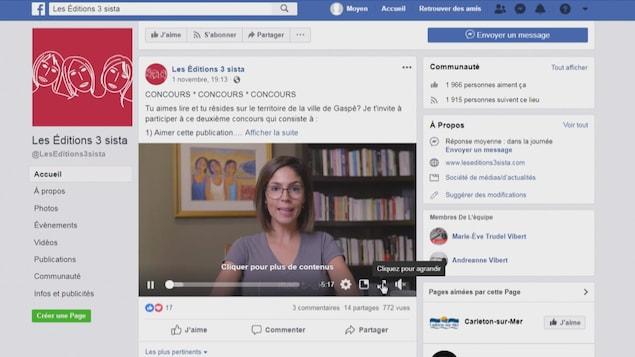 Une capture d'écran du compte Facebook de la maison d'édition