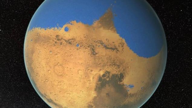Impression artistique de Mars avec un océan à sa surface.