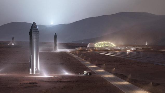 Illustration montrant des fusées et des habitations humaines à la surface de Mars.