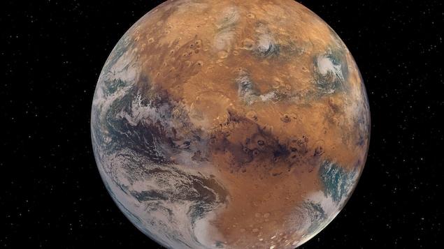 Illustration de la planète Mars avec de l'eau en surface.