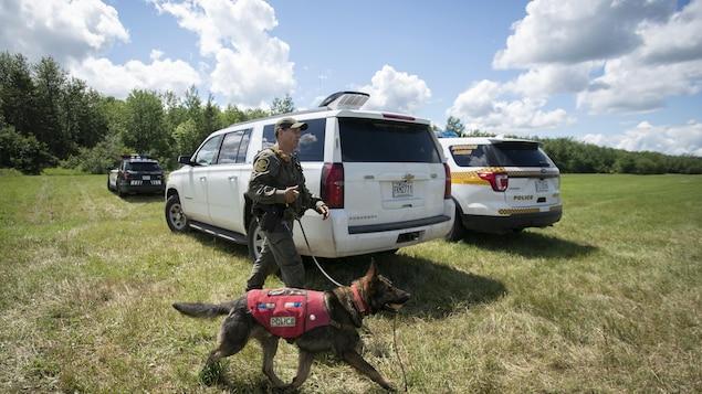 Un policier marche avec un chien en laisse.