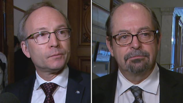 Les ministres de la Sécurité publique et des Affaires autochtones du Québec, Martin Coiteux et Geoffrey Kelley