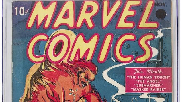 Couverture de la bande dessinée montrant un homme tirant sur un personnage rouge