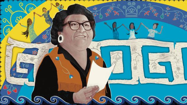 El Doodle de la artista Star Horn en homenaje a Mary Two-Axe Earley.
