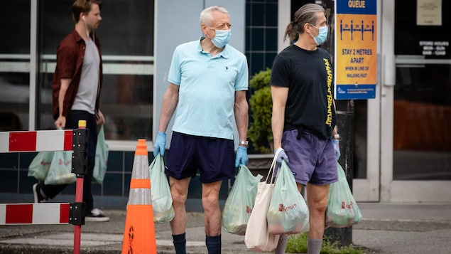Deux hommes portant le masque avec des sacs d'épicerie en main.