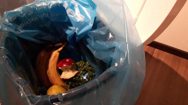 Des fruits et des légumes dans un sac de plastique recyclable