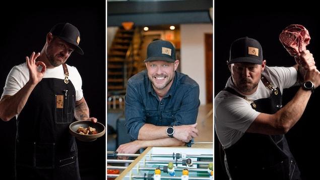 Montage  de trois photos sur laquelle un homme dans la quarantaine est mis en scène dans ses fonctions de cuisinier.