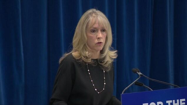 La ministre ontarienne de la formation, des collèges et des universités, Merrilee Fullerton est devant un micro et s'adresse à la presse.