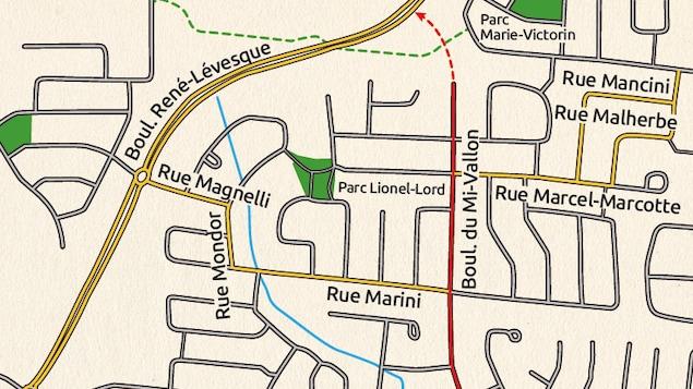 Plan du secteur Mi-Vallon de Sherbrooke