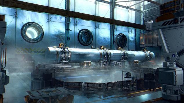 L'une des scènes de la base des Alpes suisses du jeu Deus Ex : Mankind Divided