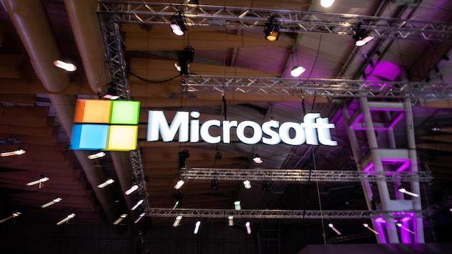 Le logo de Microsoft affiché à la conférence Web Summit.