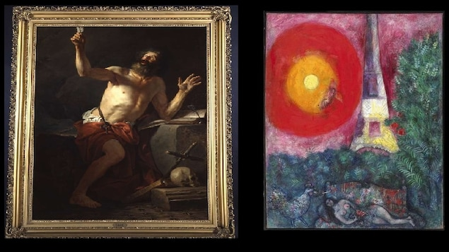 Le tableau « Saint Jérôme entendant les trompettes du Jugement Dernier » de Jacques-Louis David (à gauche) et l'oeuvre « La Tour Eiffel » de Marc Chagall (à droite)