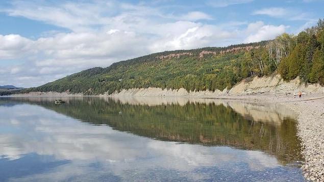 La falaise de Miguasha est située en Gaspésie, dans la baie des Chaleurs.