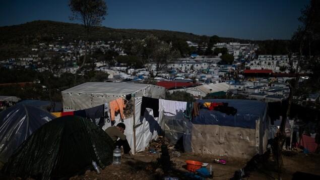 Le camp de réfugiés Moria sur l'île de Lesbos en Grèce