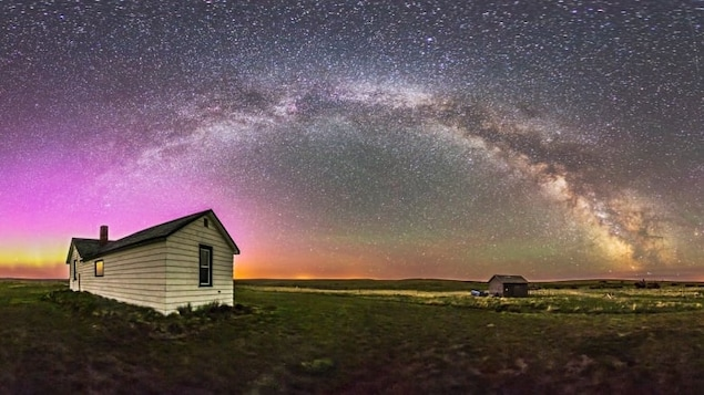 A 360-degree panorama of the night sky and prairie landscape from the Visitor Centre and farmyard at the Old Man on His Back Prairie & Heritage Conservation Area in southwest Saskatchewan.