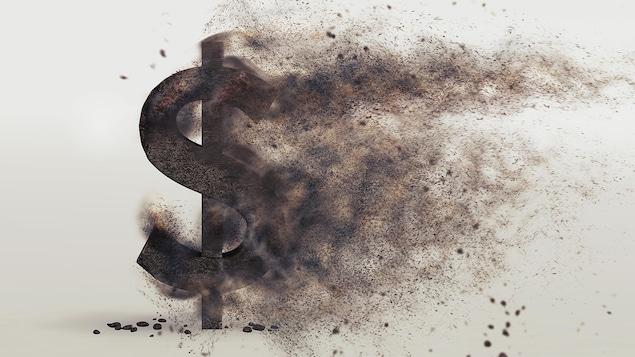 Le symbole du dollar devient poussière.