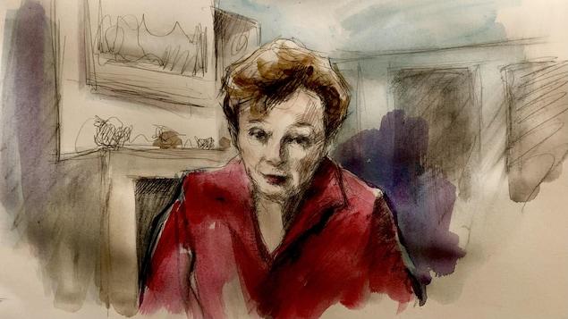 dessin d'illustratrice judiciaire de la juge