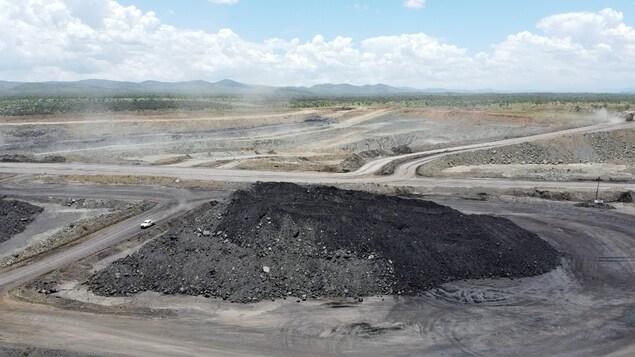 Vue aérienne de la mine de charbon