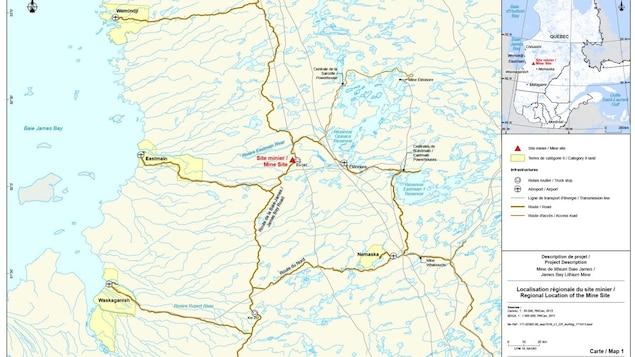 Carte représentant l'emplacement du projet de Galaxy Lithium pour une mine située à 100 km de la Baie-James