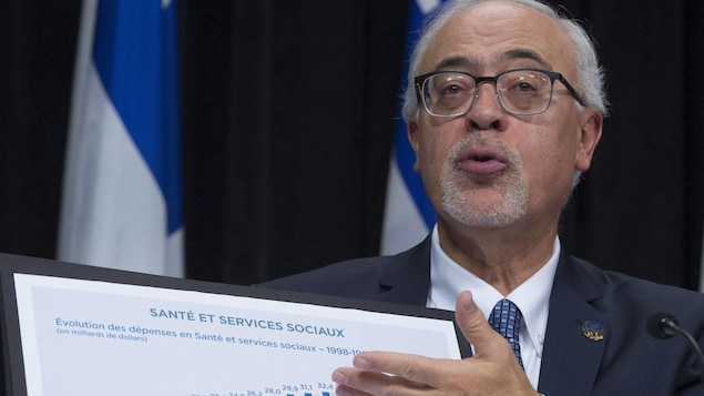 Le ministre des Finances du Québec, Carlos Leitao, présente un graphique sur l'évolution des dépenses en Santé et Services sociaux lors de sa mise à jour économique du 21 novembre 2017.