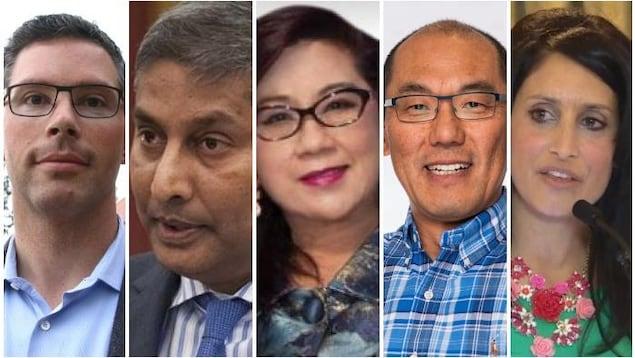 Les cinq candidats côte à côte en images distinctes.