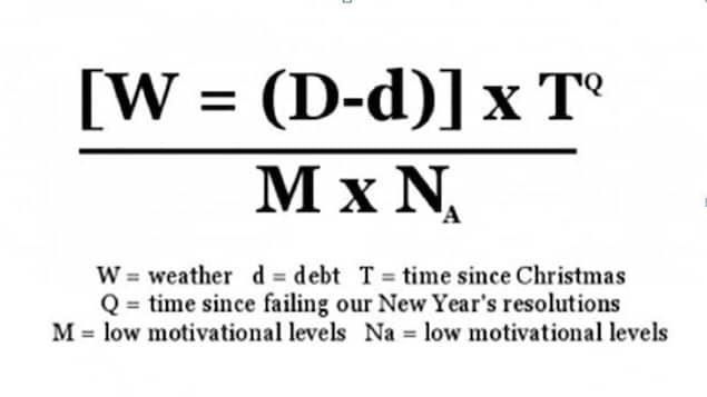 La formule du psychologue britannique Cliff Arnall détermine que la déprime hivernale est régie par la météo, les dettes et la capacité à rembourser, le temps écoulé depuis la période des Fêtes et le manque de motivation.