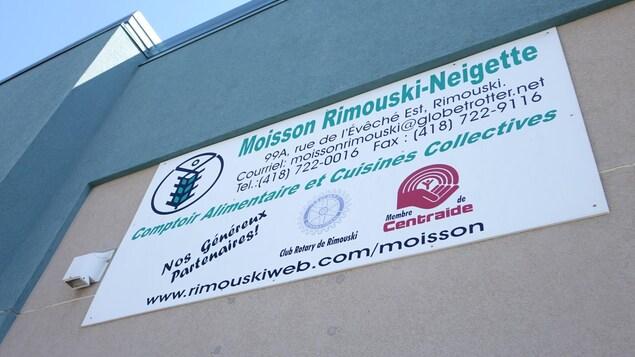 La façade des locaux de Moisson Rimouski-Neigette.
