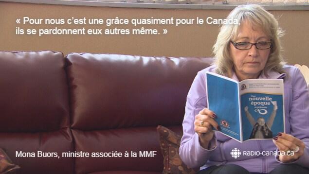 Citation de Mona Buors, représentante de la Fédération des Métis du Manitoba (MMF) : «Pour nous, c'est une grâce quasiment pour le Canada. Ils se pardonnent eux autres même.»