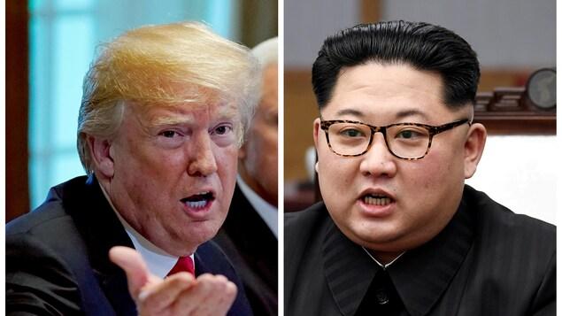 À gauche : le président américain Donald Trump. À droite : le dirigeant nord-coréen Kim Jong-un.