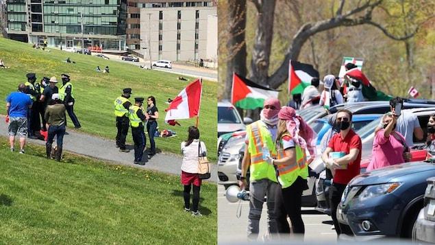 Montage photo de deux manifestations le 15 mai 2021 à Halifax.