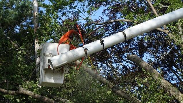 Un monteur de ligne dans une nacelle s'apprête à réparer une ligne électrique.