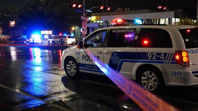 Un périmètre d'intervention policière à Montréal-Nord.