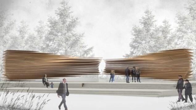 Un dibujo muestra dos pilas de placas y barras de bronce en una plaza pública por la que la gente pasea o mira.