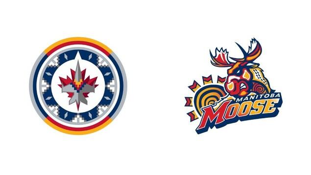 Les logos des Jets et du Moose avec des motifs et des symboles de plusieurs cultures autochtones.