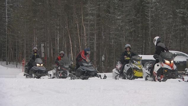 Cinq motoneigistes dans une forêt.