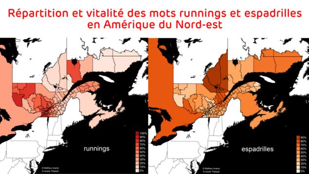 Carte des régions où sont le plus utilisés les mots