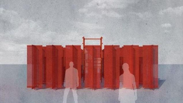 Deux silhouettes devant un mur rouge.