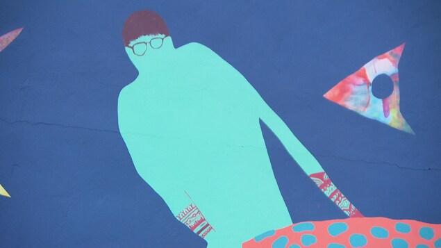 Peinture d'une silhouette bleue portant des lunettes