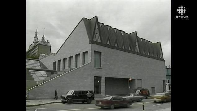 Partie du bâtiment extérieur du musée de la civilisation, dans le Vieux-Québec.