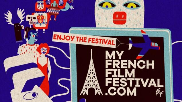 Affiche dessinée du festival MyFrenchFilmFestival