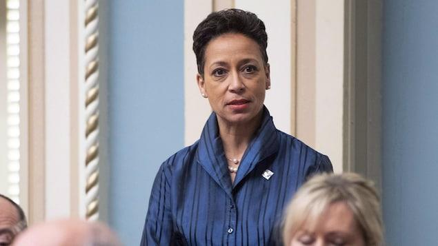 Nadine Girault, ministre des Relations internationales et de la Francophonie, lors d'une intervention à l'Assemblée nationale